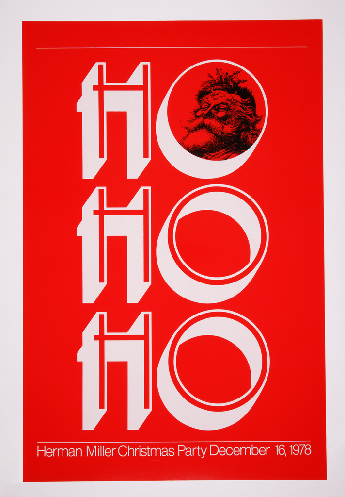 Phrase Ho Ho Ho printed vertically in white against red background.  Face of Santa Claus in uppermost o and at bottom: Herman Miller Christmas Party December 16, 1978.