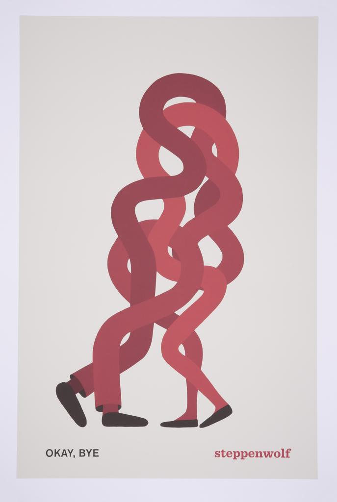 Two intertwined and curving sets of red legs in slightly different tones extend upward from two pairs of feet, as if two bodies are leaning into one another in an embrace.
