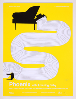 On bright yellow ground, white piano keys swirl downward in a serpentine shape from a black piano at the top left corner, curving over a piano bench tipped on its side at lower left. At bottom, white circle and rectangles in line with text providing information about the event.