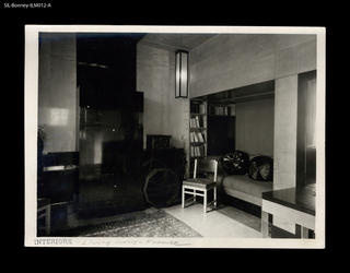 France, 20th century. Radio Room. Domicile of MM. Reifenberg. Walls panelled in light, exotic wood. Oblongs in white opaque glass where walls and ceilings intersect.  Robert Mallet-Stevens (1886-1945), architect. Francis Jourdain (1876-1958), designer.