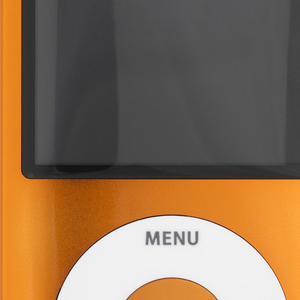 Vertical rectangular form of orange aluminum with large rectangular screen above circular white click wheel with control symbols.