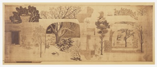 Designed as a one panel mural with a horizontal format. A variety of landscapes are viewed through a series of large architectural arches. Birds and sheep wander among trees in the ruins of an ancient courtyard.