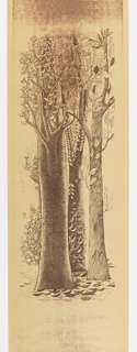 Panel A from a three panel mural set. Three large-scale trees with the bark of each tree being drawn with a different fill pattern. The trees rise the full height of the panel. Printed in a sepia tone.