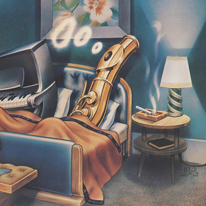 Vertical rectangle. In a bedroom, a piano and a flute lay in bed, the flute smoking and blowing smoke rings. A suitcase is open to show some music notes, at the foot of the bed. A floral painting hangs on the wall behind them, a small armoire by the window. Illustration framed by white margins, with a large blank rectangle in the lower composition. Printed text at bottom.