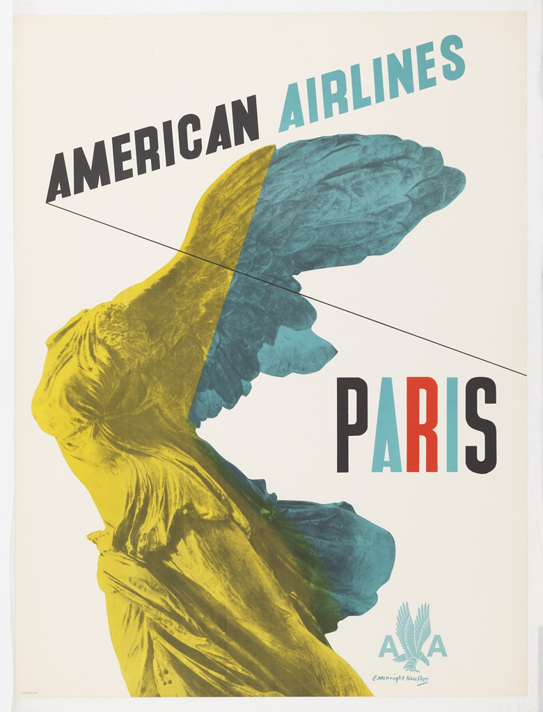 Poster design encouraging travel to Paris via American Airlines. Photoillustration in yellow and turquoise of the Winged Victory of Samothrace from the Louvre collection.Text in black and turquoise, upper center: AMERICAN AIRLINES; center right, multicolored text: PARIS. [American Airlines logo in light blue], lower right.