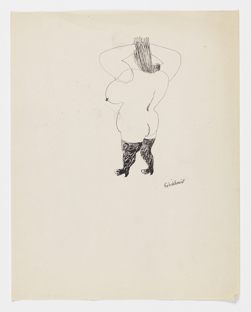 Study of a nude figure depicted in black outline. At upper center, a female nude figure seen from behind, turned half-way to the left. The figure's arms are raised with their hands folded behind their head. The figure is depicted wearing high-heeled shoes with tall black stockings, or possibly, knee-high black boots.