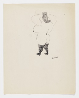 Vertical rectangle. Large female figure, three-quarter view, back to viewer, arms raised to head; nude but for black boots.