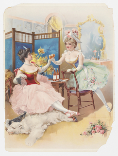 Vertical rectangle. Two ballerinas in full-skirted costumes, sitting in a dressing room, clinking glasses full of a light brown beverage. Two bottles of the beverage placed on a tray on a table between them. Polar bear rug on floor at left, bouquet of pink roses at lower right. Behind them, a vanity with a gilded mirror at right and a screen at left. Yellow curtain in the background.