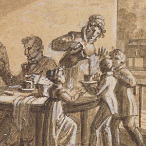 Drawing, Design for a Painted Porcelain Plate, Café (Coffee) from the Service des Objets de Dessert (Dessert Service)