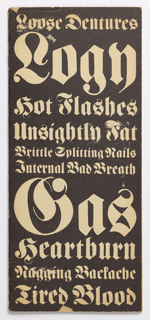 Vertical rectangle. Four f. (2 sheets), folded and stapled to form broadside; intended as advertising promotion for Push Pin Studios designers; cover, imprinted upper center: The Push Pin Monthly Graphic [in fraktur font over calligraphic meandor design]; on inside pages, 18 humorous and fictious medical conditions from which hypochondriacs might suffer.