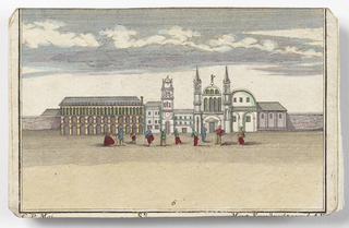 Scene with dancing figures.  Palace of the Doges on right, library on left.  Also the campanile of St. Marks, the Mint, and a church.  Right edge of each section taped to folding cardboard mount of which parts g and h are cross members.