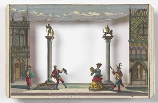 Horizontal rectangle. Scene made up of 6 cards, the frontmost 5 cards with cutouts that allow a view of the scene beyond when aligned, the last card with no cutout. Palace of the Doges on right, library on left.  Also the campanile of St. Marks, the Mint, and a church in background.  Groups of costumed male and female figures dance in a street square framed by two columns in foreground, musicians play instruments at foreground in right. A dog leaps in foreground at left.