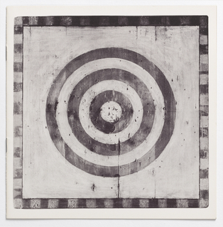 Square format. Four f. (2 sheets); on cover: photographic reproduction of old-fashioned archery target with concentric circles, on painted distressed wood; imprinted on title page in facture-style typography: How to  / Lead a / Weapons / Platoon; inside pages, point-by-point actual advice from an army training manual on weapons platoons, each illustrated in style of cover image.