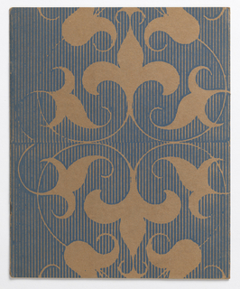 "Vertical rectangle. Four f. (2 sheets); cover in textile- or wallpaper-like design of fleurs-de-lys with leaves and meanders in blue and light brown; imprinted on title page in long vertical oval: Holiday Issue of the Push Pin Group Number Thirty-Nine [in fraktur font]; imprinted on inside folios, ""The Wisdom of Gotama: Illusion and Love"" from Hermann Hesse's ""Siddhartha"" (translation by Hilda Rosner, 1915)."