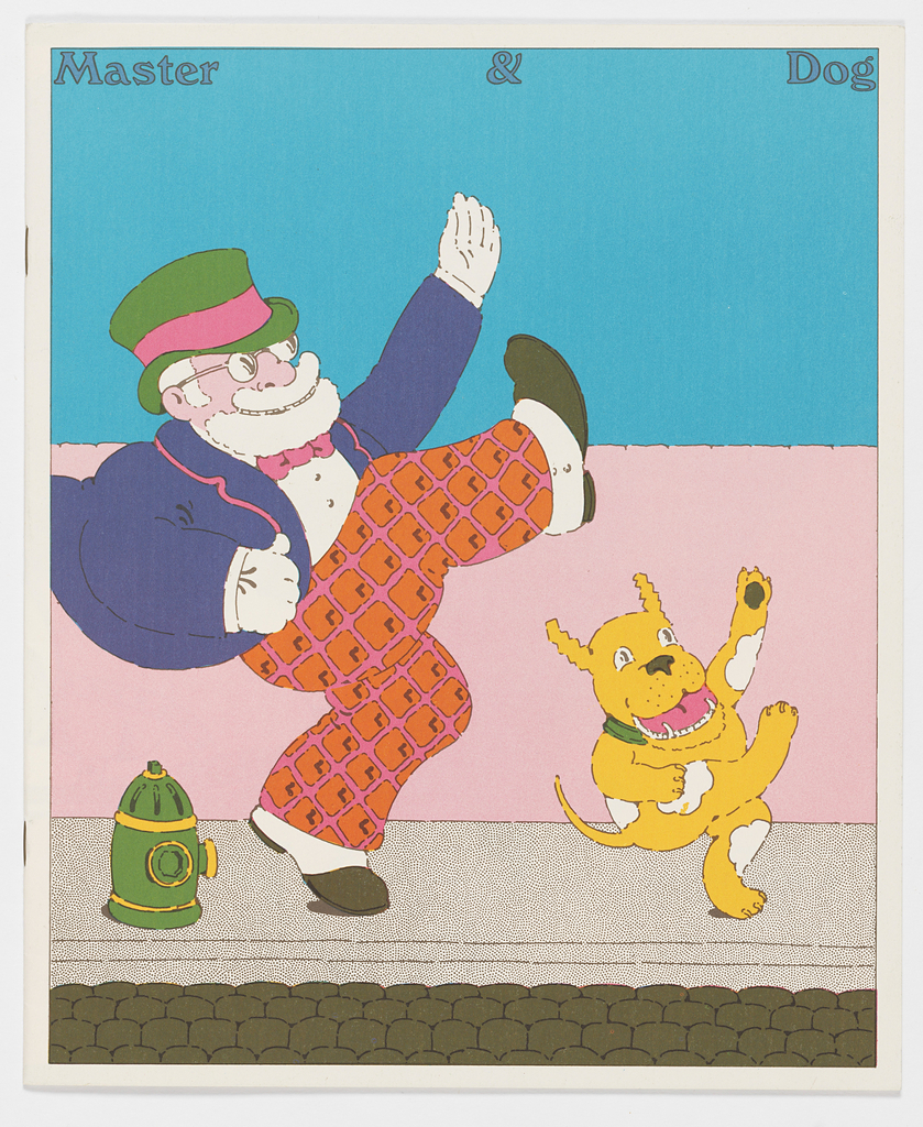 """Vertical format. Eight f. (2 pages); imprinted on front cover, cartoon-like bearded man and dog in vaudevillian poses moving right; man is white-bearded and wears green top hat, spats, and white gloves; dog is orange with white spots and dances on hind feet; four rows of theatre seats spread horizontally across bottom of design suggest a theater interior; imprinted across top of page: Master & Dog; imprinted inside front cover, lower left corner, publication information.  Imprinted on inside pages, essay entitled """"Affection's Claim"""" from """"Man Needs Dog"""" by Konrad Lorenz, 1953; across last four pages, publication information along bottom of pages and starting on third page from end, one long blue dachshund dog facing left extended across three pages, with """"Advertisements"""" imprinted across its torso.  On back cover, black and white cartoon of beggar man and his dog standing on sidewalk, man holds cup and wears sign on chest: """"God Bless You."""""""