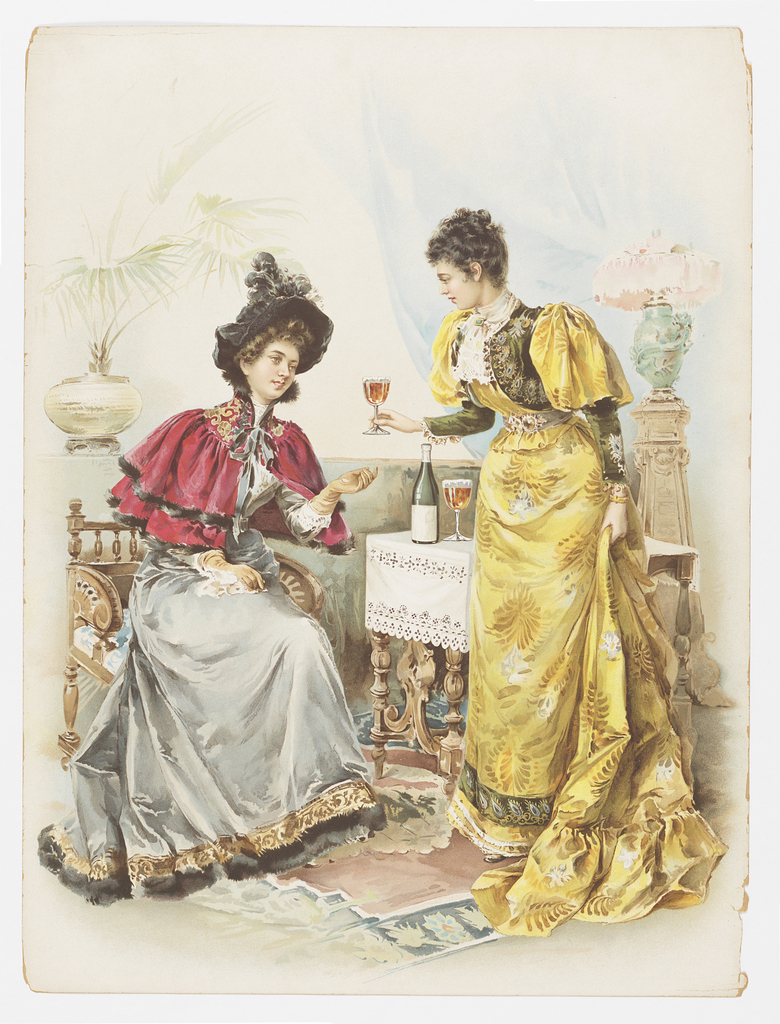 Vertical rectangle. Two female figures, a woman in yellow dress at right handing a glass of beer or wine to a seated woman wearing a red cape and gray dress at left. Decorated rug on the floor. Behind the woman at right, a wooden table with white eyelet tablecloth. On the table stands a green bottle and a second glass full of a brown beverage. Lamp on a stand in background at right, a plant at left. Blue curtain beyond.