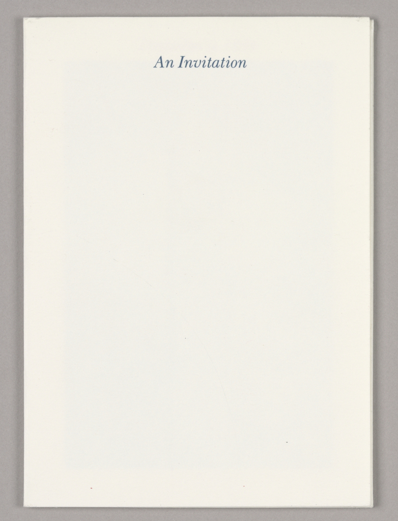 1993-151-221a - Invitation - When folded, the recto (front cover) displays one line of italicized blue type, An Invitation, centered just below the top edge of the otherwise blank white page. When unfolded, seven panels are revealed in a step layout; four panels on each side are comprised of partial photographic views of well-known buildings (e.g., the Eiffel Tower, Empire State, and Chrysler) in blue-gray tones within white borders. The building dates, imprinted in red italicized type, are centered within the top borders. One of the views, featuring One Liberty Place, is dated December 12, 1986, the completion date. The three remaining panels are all related to the invitational event celebrating the topping off and again use red italicized type:  the adjacent panel (to the right) consists of eight lines of type, six in the top half and two just above the bottom edge; the adjacent panel (immediately above) shows a color photographic view of fireworks in predominantly pink tones; and the reverse of the fireworks view displays One Liberty Place centered at the top and four additional lines of type centered just above the bottom edge.  1993-151-221b - Ticket - A view of a clouded sky in blue-gray tones is bordered in white. Four lines in red italicized type are centered in the top half: This ticket will admit/ you and a guest to/ the One Liberty Place/ Topping Out celebration.