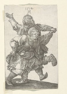 Two peasants dancing. The woman, facing the spectator, moves toward the right. The man, his back turned, lifts his left hand.
