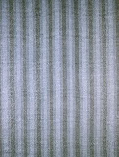Warp: blue and black Rovana. Weft: blue Rovana and grey asbestos. Plain weave: two shots of single warps, alternating with two shots of gray asbestos on paired warps. Striped warp- solid blue, solid black, or blue/ black combination.