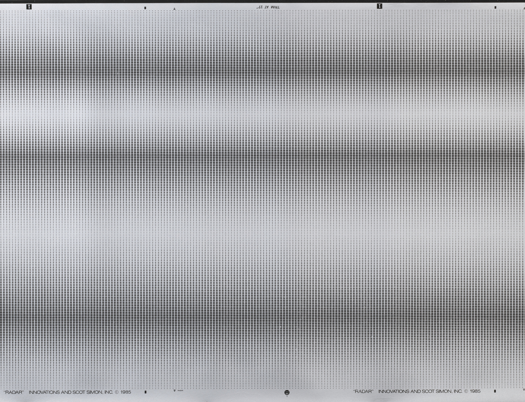 Horizontal rows of black rectangles increasing and decreasing in size to create an optical effect, on silver ground. Graphite black.