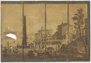 "Four fold screen covered with well-known scenic wallpaper ""Venetian Scenes"". A market square with obelisk and Italianate buildings in various states of preservation, with figures in uniform and Empire dress. A narrow blue figured border at top and bottom and at the outer edge of extreme right hand panel. Printed in sepia."