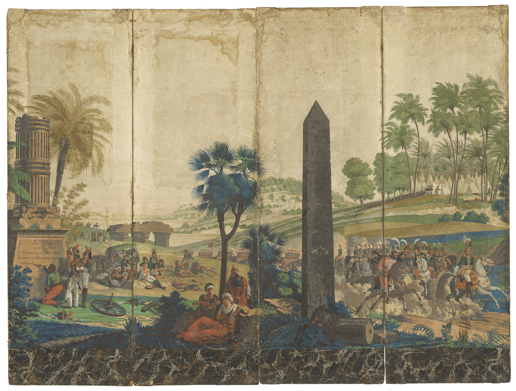 "Four panels from ""Les Francais en Egypt"" pasted on a screen. The inscription beneath the broken column in left foreground panel is ""Le 20 Mars 1800, 10,000 Francais Commandes par le Brave Kleber ont vaincu 80,000 Turcs dans les plaines d'Heliopolis.."" The second panel shows conquered Turks resting, and marching French soldiers.The third panel, a tall obelisk; the fourth, the French encampment with a group of cavalry led by Kléber on a white horse. Vivid colors with a grey sky and a black marbleized border at bottom."