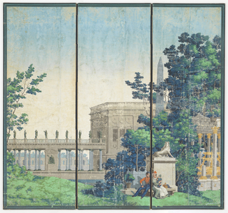Three panel screen, featuring classically-styled building in center, with colonnade running to left side of panel, containing nine figural sculptures. In front of building is obelisk. In foreground are two seated figures, with woman holding small child, in front of monument topped with beast. The back of each screen is divided into three sections by crossbars, each containing a printed green square on dark gray ground.