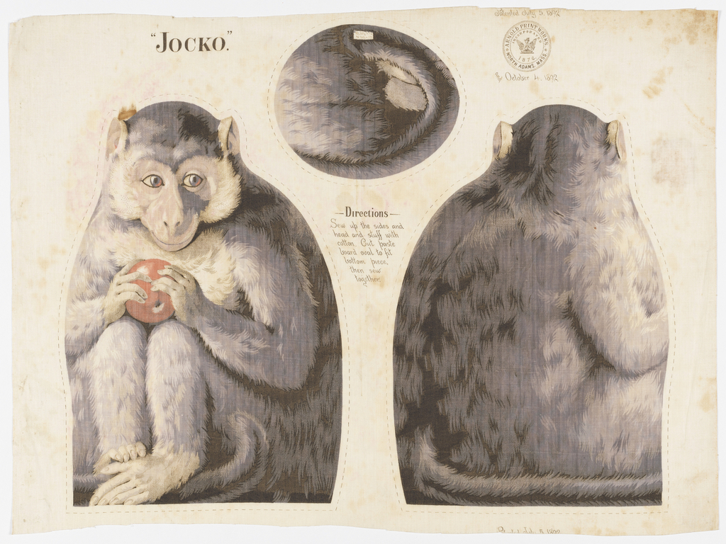 """Printed panel, entitled """"Jocko"""" with front, back and bottom views of a monkey holding a piece of fruit, meant to be cut and sewn into a stuffed toy. Sewing instructions are printed in the center. """"Arnold Print Works, North Adams, MA"""" is printed in the upper right corner."""