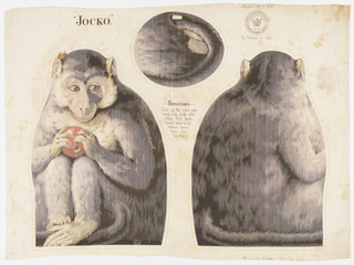 "Printed panel, entitled ""Jocko"" with front, back and bottom views of a monkey holding a piece of fruit, meant to be cut and sewn into a stuffed toy. Sewing instructions are printed in the center. ""Arnold Print Works, North Adams, MA"" is printed in the upper right corner."