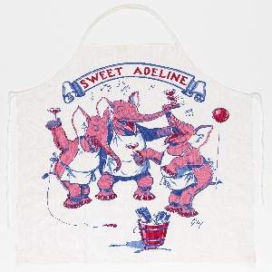 Three pink elephants wearing aprons and with balloons tied to their tails, singing and drinking from champagne glasses. Printed in pink, red and two shades of blue on white.