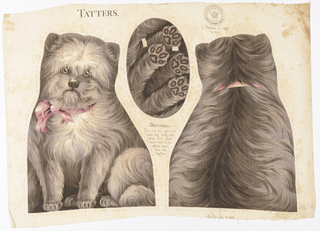 "Printed panel, entitled ""Tatters"" with front, back and bottom views of a small dog wearing a bow, meant to be cut and sewn into a stuffed toy. Sewing instructions are printed in the center. ""Arnold Print Works, North Adams, MA"" is printed in the upper right corner."
