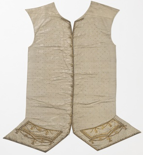 Two waistcoat fronts of cloth of silver with gold metallic threads. The fronts are embroidered with an all-over pattern of gold sequins; a narrow band of embroidery follows the center front and lower edges, and the pocket area is decorated with embroidered garlands of flowers, all in gold.