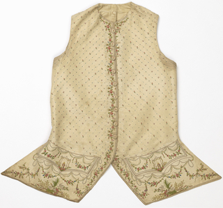 Gentleman's waistcoat of off-white taffeta in a collarless, cutaway style and shaped pocket flaps. Embroidered in multicolored silks. Body has lattice arrangement of sprigs, flower buds and X-shapes while center front has a floral vine decoration. Pocket flaps have ribbon garlands over a gazebo-like structure. Below flaps, white birds, flowers and floral garlands.
