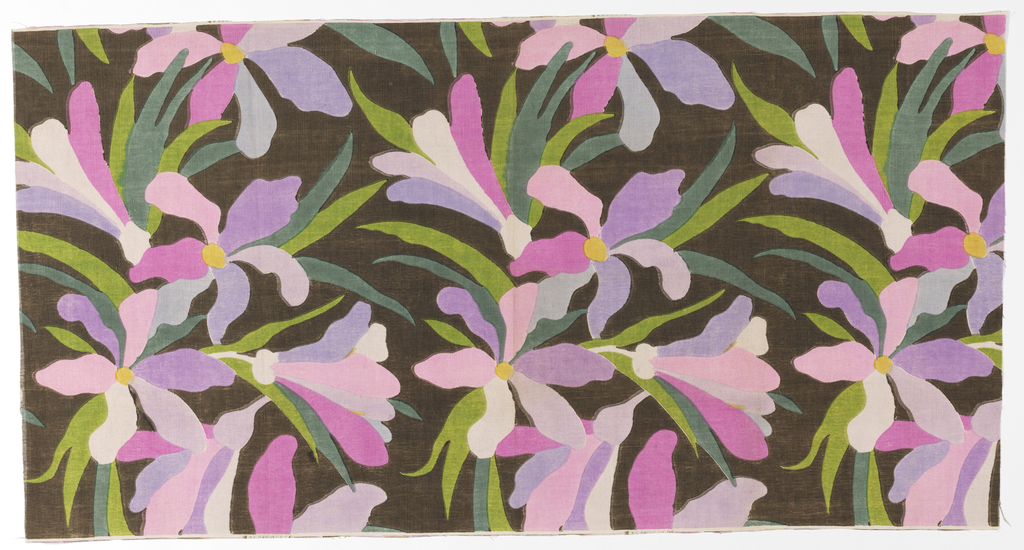 Design of flowers and leaves in lavender, pinks and greens on a brown ground.