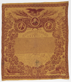 Commemorative bandana of the Declaration of Independence with signatures and surrounded by seals of the thirteen states and portraits of Washington, Jefferson and Adams printed in deep red on yellow. In the lower corners are scenes of the Boston Tea Party and General Burgoyne's surrender to General Gates at Saratoga.