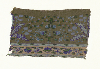 Symmetrical horizontal repeat of toothed palmate leaf alternating with vase and flowers with filling sprays of small leaves, stems and flowers. Floral guard band at bottom within decorated guard strips. In blues, purples and green with dark brown and purple outlines on a brown ground. Loom edgings reinforced on long sides. One selvedge.
