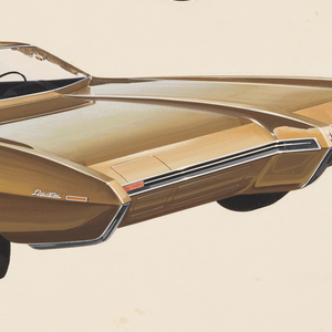 On white ground, two designs for automobiles. At lower left, a golden car shown in three-quarter frontal view with a wide elongated body. A long thin metal grill distinguishes the front, with projecting rectangular forms at the edges and center, a raised element leading from the front center of the car back across the hood. Curvilinear car body swells above the rear wheel well; tires have chrome hubcaps. At upper right, smaller design for pale blue automobile with chrome accents shown in profile view from right. Similar curvilinear form, the body swelling above the rear wheel well, the roof made up of contrasting black.