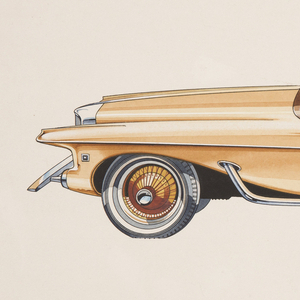 On white ground, design for a yellow automobile viewed in profile from the left side. Body distinguished by long rectilinear form with pointed front and rear ends, each with projecting chrome elements. Gold hubcaps echo the car's golden body; behind the left front tire, a portion of a chrome tube element emerges from the car's interior, adding a mechanical aesthetic. The car's interior has both a front and back seat, the back seat separated from the front by a large cover.
