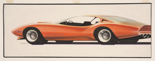 On cream ground, design for a reflective red Pontiac GTO automobile viewed in profile from the left. Curvilinear body with pointed front and rear ends, flaring curves above the wheel wells. Silver hubcaps at the wheels, round tail lights at the rear, the back of the car projecting in a triangular fin. Thin vertical grill behind the left front wheel, inscriptions at the front. Large interior.