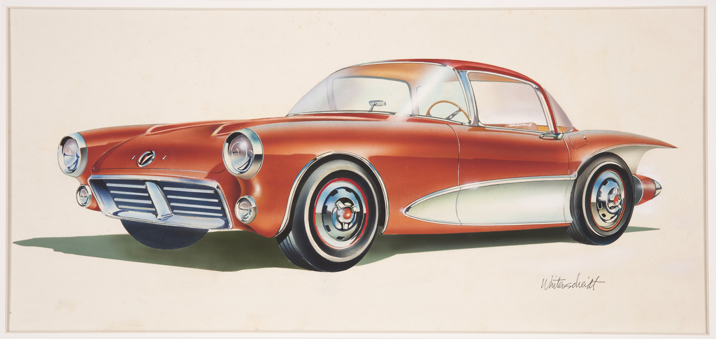 Design for a red automobile with chrome accents shown in three-quarter frontal view. Curvilinear bulging body with round projecting headlights at the front above a rounded rectangular metal grill. Silver hubcaps at each of the tires, a chrome accent bordering each of the wheel wells. Behind the front left tire, decorative chrome element pointing towards the front of the car and continuing to the car's rear. Red dagmars extend beyond the rear tire, a large red fin with chrome underside above.