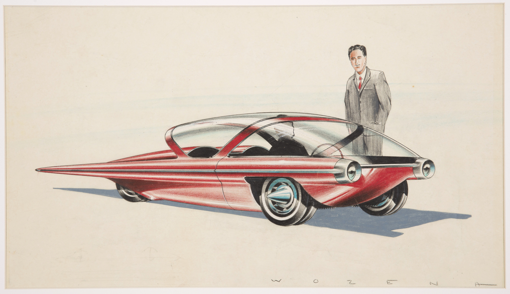 Design for a red automobile in spacecraft style shown in three-quarter frontal view. Streamlined automobile body is narrow and long, with a large pointed tail extending beyond the back tire. Front tire decorated with a conical silver hubcap resembling a bullet, the front headlights of the vehicle round and projecting outwards from the body. Windshield and windows made up of two pieces of curved glass, simulating the effect of a pilot in an airplane. At the wheel is a silhouette of a male figure; a standing male figure in gray suit and red tie is at right. Indications of blue sky in background.