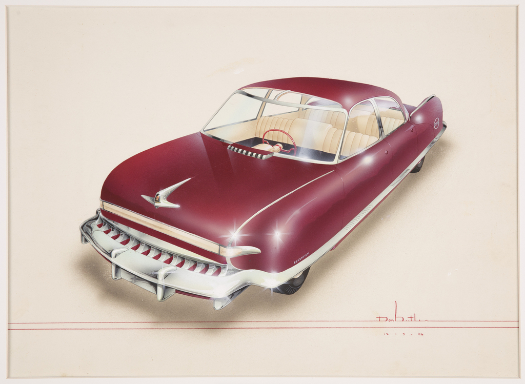 Design for a burgundy automobile with chrome accents shown from above in three-quarter view. Body distinguished by an elongated curvilinear line, with round front and rear details. A raised chrome hood ornament at the front center of the car's hood, and a metallic grill behind, adjacent to the windshield. Below the hood ornament, a band of chrome above a stylized grill and projecting chrome bumper, an element that continues across the lower body of the car. Marks throughout indicate the shiny and reflective surface. Car interior upholstered in white leather with a red steering wheel.