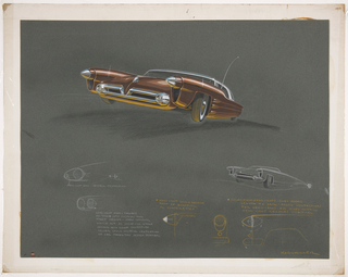 On black ground, design for a red automobile with chrome accents. At upper left, bottom three-quarter view of automobile. Silver conical dagmars project at the front, a chrome hood ornament at center, and metallic grill below with round headlights. Whitewall tires, a contrasting white roof, and a long curving radio antenna at right. Along lower body, horizontal rippling curves add texture. Below, several sketches for the same automobile in white and yellow color pencil, most focusing on the forms and mechanics of the headlights in profile and frontal plan views. A second sketch of the car at right includes details of the lower body. Inscriptions noted in white and yellow color pencil.