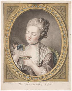 Portrait of a young woman, facing left, pouring coffee from a gilded cup into a saucer. The image is surrounded by a printed gilded frame.