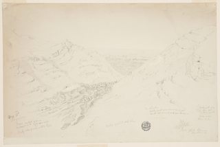Horizontal rectangle. Rugged hills bordering a watered and wooded valley shown in the foreground, city and gardens shown in the central middle distance. Hill range in the back. Inscribed figures and notations throughout.