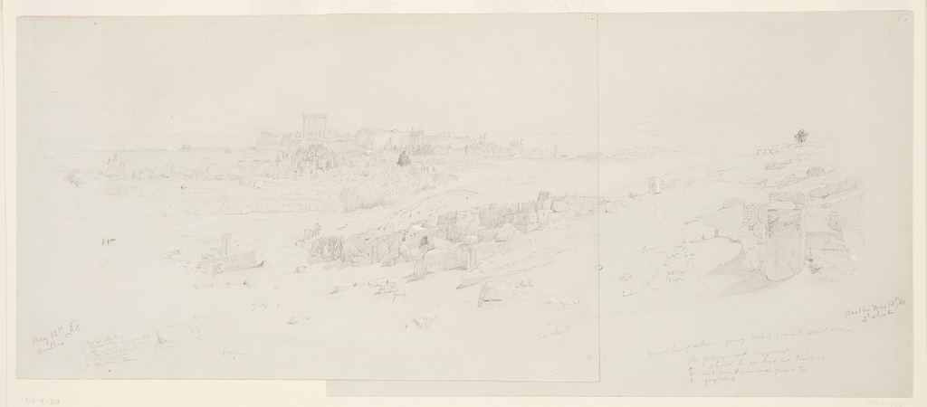 Drawing, Temples at Morning, Baalbek