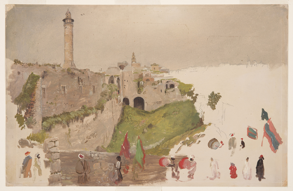 A bridge crossing the moat and participant figures, and parts of such, in a parade, some with colors, others with drums, others merely walking, are shown in the foreground.  Structures of the city fill the left middle distance and the rear, the left part only being finished. Two minarets rise at left and in the center, respectively.