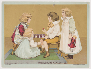 Horizontal rectangle. Scene of a group of children; a boy and girl seated on turned wooden stools playing checkers while two other girls watch.  Their play area is atop a green carpet with blue border.  The interior space is divided into two planes: a flat mushroom brown color for the floor and a pale mustard yellow to indicate the walls.  The children all have fair complexions and are neatly scrubbed wearing gowns and pinafores, while the boy wears yellow knee breeches, a white shirt with yellow bow, and matching boots. The girl at right carries a doll wearing a red dress.
