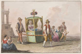 "Horizontal rectangle. Two men carry a sedan chair, labeled ""NAP[IOO {or} ION]"" with two persons. A woman and three children accompany it in the middle distance. In the foreground at left sits a woman with a child. In the middle distance at left is shown the corner of a palatial house. Framing lines. Signature in the lower right corner: ""Gatta."""