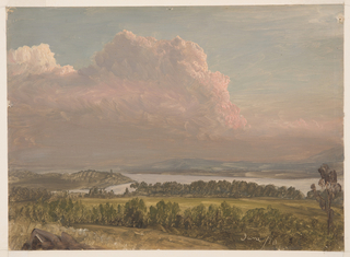 Drawing, Sunset across the Hudson Valley